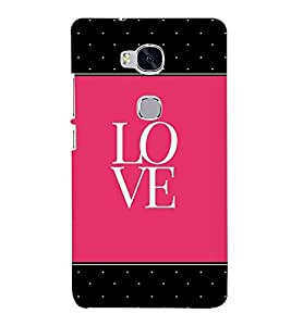 Love Pink Black Dots 3D Hard Polycarbonate Designer Back Case Cover for Huawei Honor 5X :: Huawei Honor X5 :: Huawei GR5