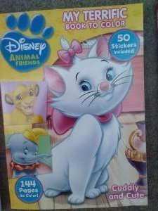 Disney Animal Friends My Terrific Book to Color with 50 Stickers & 144 Pages ~ Cuddly & Cute