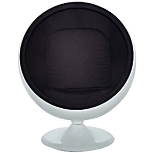 LexMod Eero Aarnio Style Ball Chair in Black