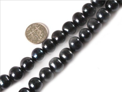 11-12mm round dark natural freshwater pearl beads strand 15