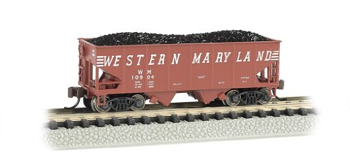 Bachmann Industries Usra 55-Ton 2-Bay Hopper Western Maryland (Speed Lettering) Train Car, N Scale