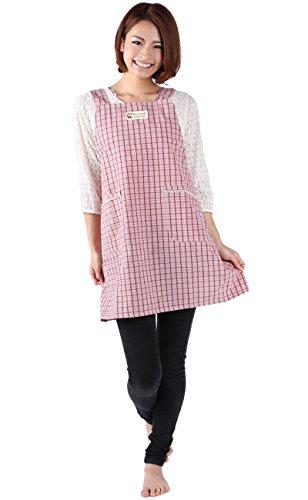 【タータン/ピンク】 エプロン H型 後ろ紐 胸元ワッペン ポケット付 511-1110