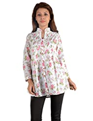 NAzAqAt Shirt Style Front Buttoned Trouser Length Kurti Base Colour White With Pink Floral Print