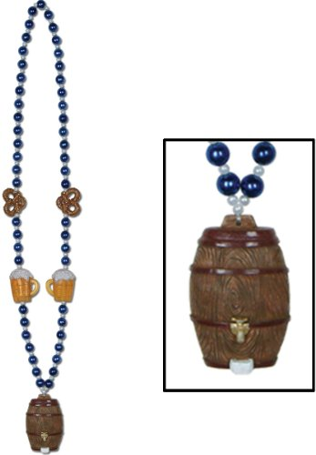 Keg Medallion With Oktoberfest Beaded Chain - 40 Inch [48 Pieces] *** Product Description: Flaunt A Fun Look At The Oktoberfest Party By Wearing The Keg Medallion With Beaded Chain. Blue And Pearl Beaded Strands Are Attached With A Miniature Beer *** front-489562