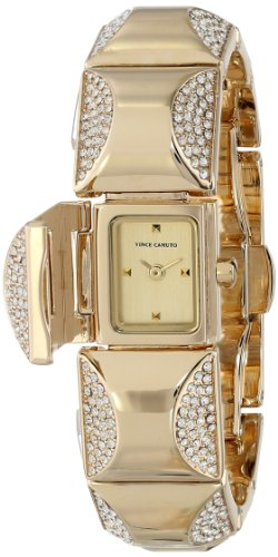 Vince Camuto Women's VC/5126CHGB Swarovski Crystal Accented Gold-Tone Curved Pyramid Bracelet Watch