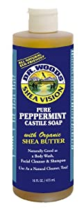 Dr. Woods Pure Peppermint Castile Soap with Shea Butter, 16-Ounce (Pack of 12)