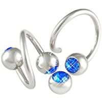 "14g 14 gauge (1.6mm), 1/2"" Inch 12mm long - Surgical Stainless Steel eyebrow lip navel bars bar ear tragus twist twister earring ring spiral barbell with 6mm balls Swarovski Crystal Sapphire - Pierced Body Piercing Jewelry Jewellery - Set of 2 AMAP from b"
