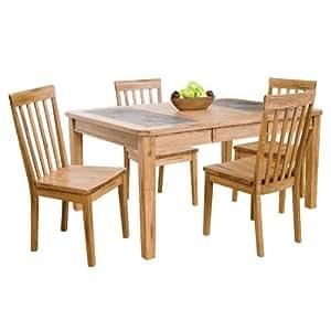Arizona Rustic Oak Dining Table Set W Slate Top