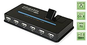 Plugable USB 2.0 10-Port High Speed Hub with 12.5W Power Adapter and Two Flip-Up Ports