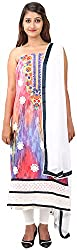 Arya The Design Gallery Women's Georgette Semi Stitched Dress Materials( SKA768, Pink, Free Size)