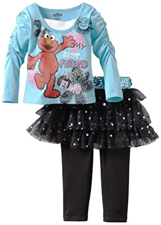 Sesame Street Girls 2-6X 2 Piece Elmo My Best Friend Skegging Set, Medium Blue, 2T