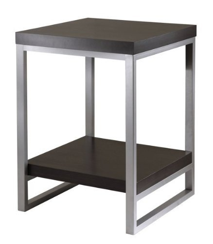 Image of Jared End Table, Enamel Steel Tube In Black/Metal By Winsome (B00563MJNM)