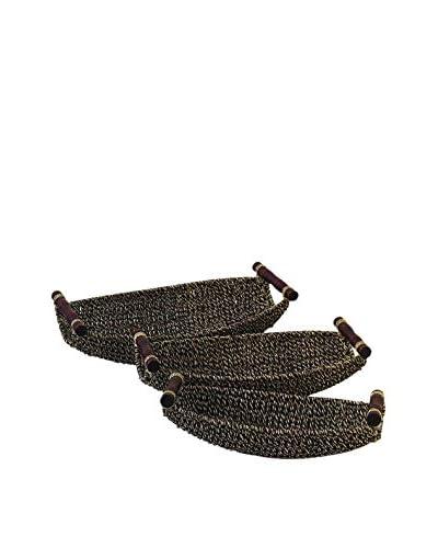 Set of 3 Seagrass Metal Baskets