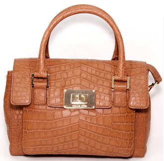 Michael Kors Sloan Croc Embossed Leather Medium Shoulder Satchel Bag Purse Mocha