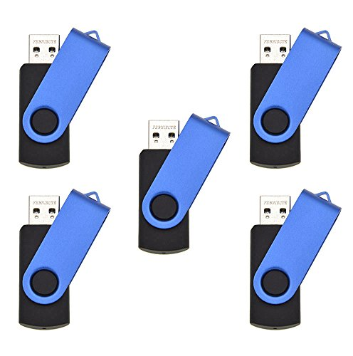 FEBNISCTE 5pcs USB 3.0 Flash Drive 8GB - Blue Swivel (Document Of Metal Gear Solid 2 compare prices)