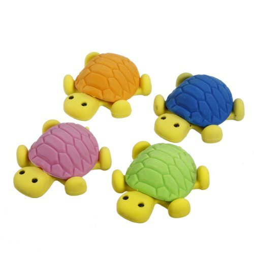 Novelty Cute Assortment Colors Tortoise Turtle Shaped Rubber Erasers Set For Kids Fun Toy Xmas Gifts(Pack of 4)