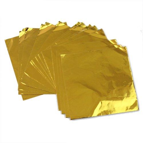 200-X-Feuille-en-Aluminium-Couleur-Or-pour-Emballage-Bonbon-Chocolat-75x75cm