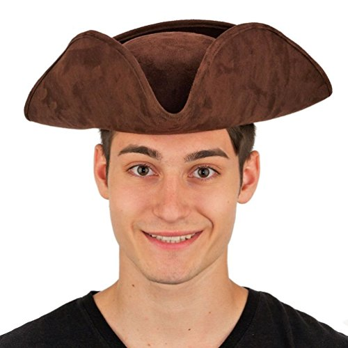 [Mememall Deluxe Brown Colonial Tricorn Hat Faux Suede Adult Pirate Costume Prop] (Adult Colonial Tricorn Hat)
