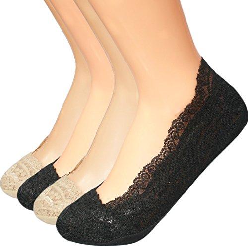 kilofly No Show Full Cuff Silicone Grip Non-Skid Socks [Set of 4, Black & Beige]