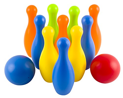 Toy-Bowling-Play-Set-Deluxe-for-Children-Childrens-Colorful-12-Piece-Toy-Bowling-Set-w-10-Pins-2-Bowling-Balls-Carrying-Case