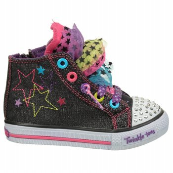 Skechers Kids' Twinkle Toes-Hip Chix High Top Sneaker Toddler (Black/Multi 10.0 M) front-976341