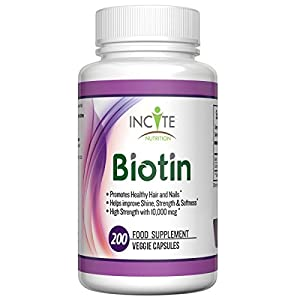 Biotin 10000mcg 200 Capsules High Potency Hair Growth Vitamins MONEY BACK GUARANTEE - 6 Month Supply and 100% NATURAL with 10000 MCG This Supplement Helps Make Hair and Nails Grow Stronger & Faster also Great for Skin - Best Vitamin H Supplements to Prevent Thinning / Hair Loss for Men and Woman - these Capsules / pills help Nail & Hair Regrowth MADE IN USA