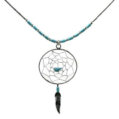 Dream Catcher Turquoise Gem Set Necklace Sterling Silver, 18