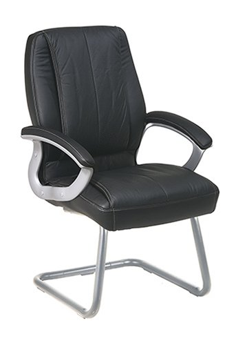 Office Star Quick Assembly Visitors Chair with Padded Arms, Black and Silver