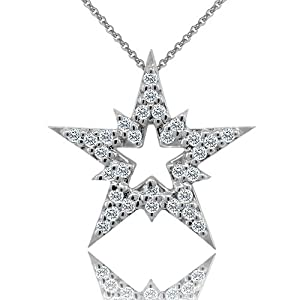 0.30CT Diamond 14K White Gold Star Pendant