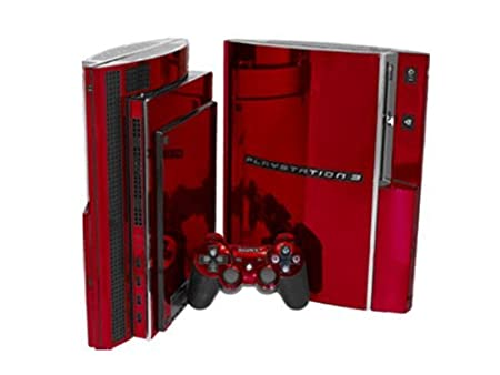 PlayStation 3 Skin (PS3) - NEW - RED CHROME MIRROR system skins faceplate decal mod
