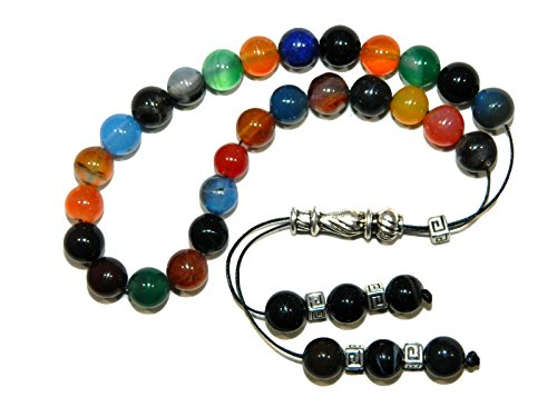 A2-0446 - Loose String Greek Komboloi Prayer Beads Worry Beads 8mm Mixed Gemstone Beads