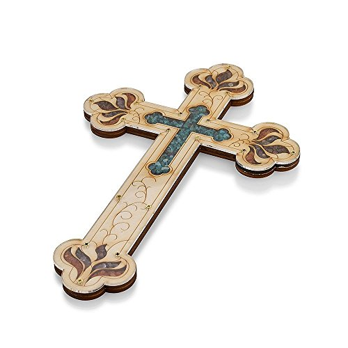 Wall Wood Cross Vintage Jerusalem Gemstones Antique Style Decor 15