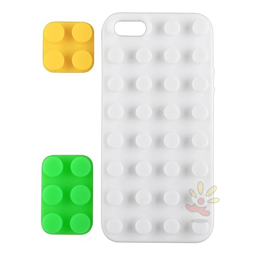 Everydaysource Compatible with Apple® iPhone® 5, White/ Yellow/ Green Toy Bricks, Silicone Skin Case