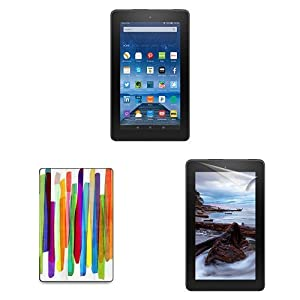 "Fire Essentials Bundle including Fire 7"" Tablet with Special Offers, caseables Colorful Stripes 1 Cover and Screen Protector"