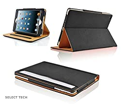 New S-Tech Apple iPad Air 2 Smart Cover Leather Wallet with Sleep / Wake Feature Flip Case