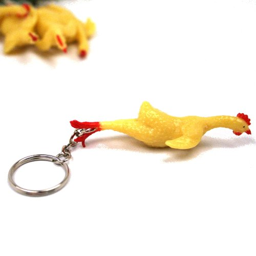 Rubber Chicken Keychains : package of 12