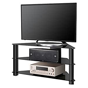 fitueyes classic glass corner tv stand and home entertainment center for 32 50 inch. Black Bedroom Furniture Sets. Home Design Ideas