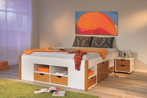 bett 140x200 mit stauraum singlebett bett mit schubladen stauraum kiefer wei 140x200 ebay. Black Bedroom Furniture Sets. Home Design Ideas