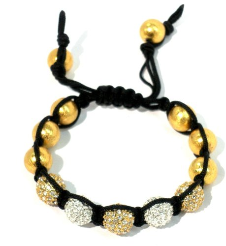 Shamballa Macrame Bracelet with Five 10mm Pave Mix of Silver Plated Crystal and Gold Plated Crystal with 10mm Vermeil Beads on Black String Macrame Adjustable Handmade Unisex