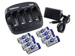 Tenergy combo TN268 Li-Ion Battery Charger and 8 pcs RCR123A 900mah Rechargeable Batteries