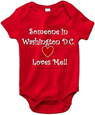 SOMEONE IN WASHINGTON D.C. LOVES ME - City Series - Red Baby One Piece Bodysuit