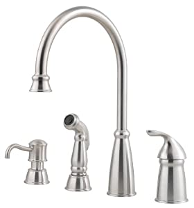 arc kitchen faucet w side spray soap dispenser in stainless steel