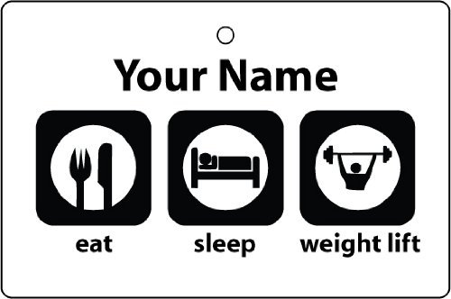 Custom Eat Sleep Weight Lifting Car Air Freshener front-436748