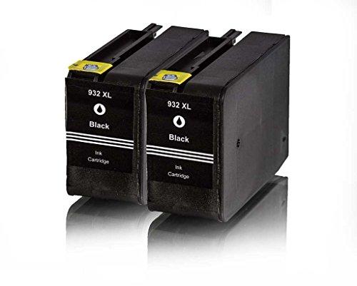 Premium 2er Pack Tintenpatronen für HP 932XL 932 XL CN053AE , CN 053AE HP Hewlett Packard Officejet 6100 6600 6700 kompatibel (Schwarz/Black)