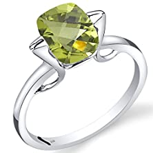 buy 14K White Gold Peridot Minmalistic Solitaire Ring 2 Carats