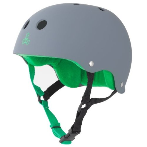 Triple 8 Brainsaver Rubber Helmet with Sweatsaver Liner (Carbon, Large)