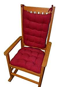 Rocking Chair Pads With Ties Red Pinwale