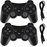 PS3 Controllers for Playstation 3 Dualshock Six-axis, Wireless Bluetooth Remote Gaming Gamepad Joystick Includes USB Cable (Black and Black,Pack of 2) (Color: Black and Black)