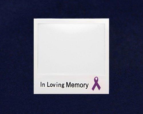 Purple Ribbon Photo Pin- In Loving Memory (25 Pins)