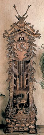 River City Clocks GRANDFATHER-DEER Eight Day Chiming Grandfather Hunter'S Cuckoo Clock with Hand-Carved Deer Family, Buck, And Trees